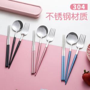 旗丰便携餐具304不锈钢勺子筷子学生套装 26元