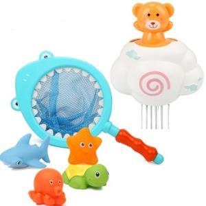 拥抱熊软胶戏水玩具云朵下雨鲨鱼捞戏水玩具4只 24.8元