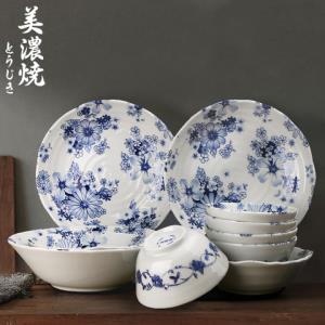 美浓烧陶瓷餐具套装简约碗盘骨瓷个性家用日式组合碗碟10头套装 259元