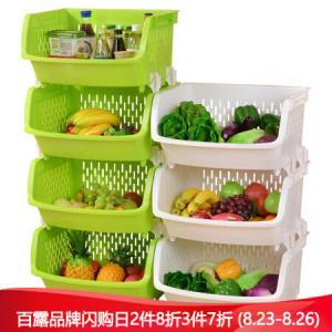 百露厨房置物架落地蔬菜收纳架收纳筐储物架放菜架子绿色三层*3件 142.2元(合47.4元/件)