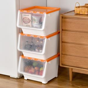 百露3个装多彩可叠加塑料收纳箱有盖衣服食物整理箱储物箱套装新款活力橙大号3个装*3件 178.2元(合59.4元/件)
