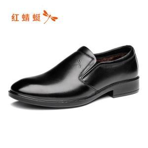 红蜻蜓皮鞋男2019冬季新款加绒正装商务休闲男鞋真皮尖头英伦鞋子179元