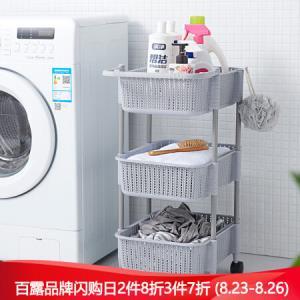 百露带轮置物架可移动厨房整理客厅卧室床头收纳层架子小推车灰色三层*3件 178.2元(合59.4元/件)