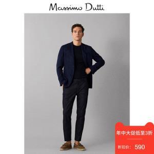 春夏大促MassimoDutti男装19春夏新款休闲亚麻深蓝色染色线西装外套男02021110401    420元