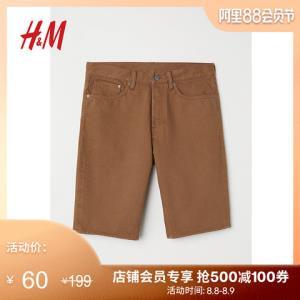 H&M男装牛仔裤男潮牌时尚纯色弹力直筒牛仔短裤HM0607968 60元