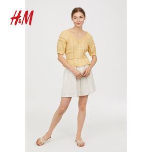 H&MHM0671691女装秋季款蕾丝镂空棉质泡泡袖短款上衣 200元包邮