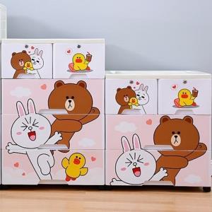 多层收纳柜抽屉式儿童整理箱宝宝婴儿衣物柜塑料自由组合储物柜子卡通企鹅38cm面宽3层*2件 200.02元(合100.01元/件)