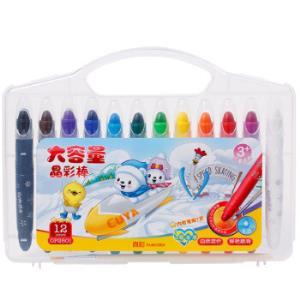 真彩(TRUECOLOR)12色盒装学生水溶性可洗旋转油画棒儿童可洗蜡笔绘画笔大容量晶彩棒赠笔刷12色/盒OP2501*5件 62.5元(合12.5元/件)