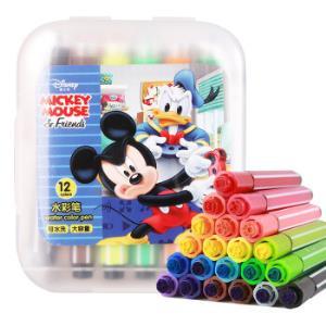 迪士尼(Disney)印章水彩笔12色可水洗六角彩色笔儿童学生绘画笔米奇DM20715M*5件 27.5元(合5.5元/件)