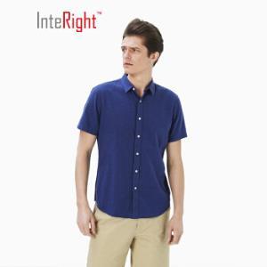 INTERIGHT衬衫男法国雨露麻棉净色干爽男士短袖衬衫深蓝色39码 27.3元