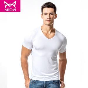 猫人MiiOW男式圆领短袖T恤衫莫代尔兰精棉修身内衣打底衫男单件*2件 89.82元(合44.91元/件)