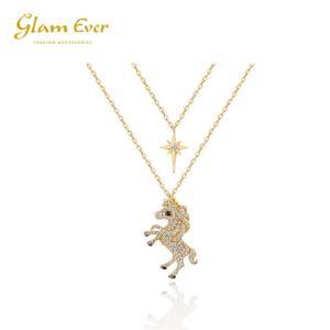 GlamEver独角兽的眼泪星月亮双层项链 99元包邮(需用券)