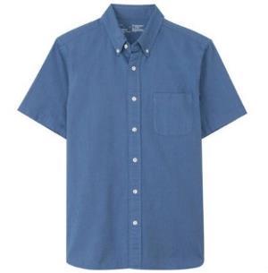 MUJI无印良品17SC720纽扣领短袖衬衫    89元