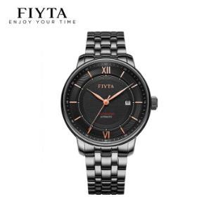 飞亚达(FIYTA)男士手表摄影师系列黑盘钢带带日历显示机械男表镀玫瑰金色铜针DGA23005.BBB1368元