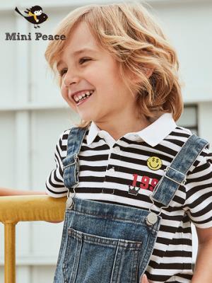 minipeace太平鸟童装男童短袖翻领T恤儿童POLO衫黑白条纹夏季新款*4件389.2元(合97.3元/件)