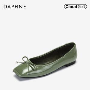 Daphne/达芙妮秋新款方头单鞋真皮内里蝴蝶结女鞋子1018404099 56元包邮(需用券)