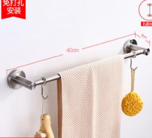 卫生间置物架双层毛巾杆304不锈钢单杆浴室双杆挂件毛巾架免打孔28元(需用券)