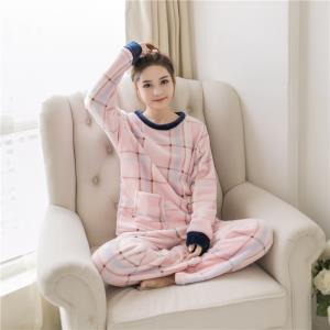 朵蜜草 秋冬季加厚款法兰绒睡衣女套装 ¥24.9