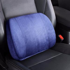 卡饰社汽车腰靠水晶绒记忆棉靠枕汽车家居办公室腰靠枕垫蓝色38元