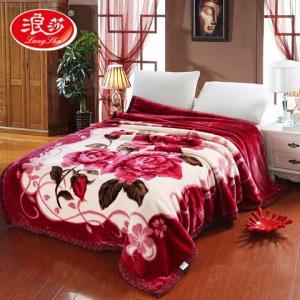 浪莎加厚拉舍尔毛毯双层秋冬季盖毯珊瑚绒毯子大红床单人双人毛毯118元
