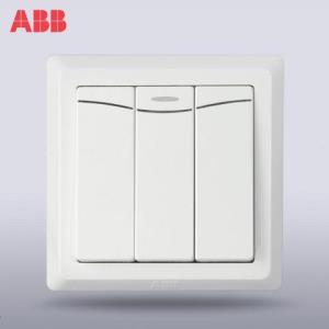 ABB开关面板86型墙壁开关插座德逸三开单控带装饰线开关AE13341.47元
