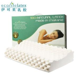 伊可莱ecolifelatex泰国进口乳胶枕头枕芯颈椎枕按摩低款PT3CS 129元