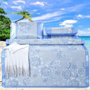 冰丝凉席三件套1.8m床双人1.5夏季空调席子单人0.9米二件套牡丹盛世-蓝180×198cm(3件套) 99.9元
