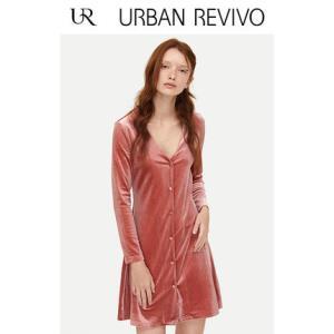URBAN REVIVO YU03R7FN2000 女士丝绒连衣裙  79元