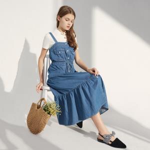 A21夏季2019新款女装甜美宽松可调节肩带牛仔连身背带长连衣裙*2件 208.6元(合104.3元/件)