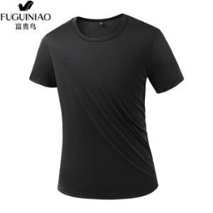 富贵鸟运动t恤男短袖夏季新款体能服速干衣透气吸汗圆领速干T恤男BH818黑色L 19.9元