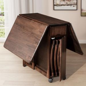 沃购(WOCLE)进口实木餐桌现代家具北欧简约伸缩可折叠6人餐桌椅组合中小户型饭桌餐桌1300*860*765    1710元