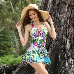 李宁定型胸型带钢圈修身遮肚显瘦连体裙泳衣女 69元