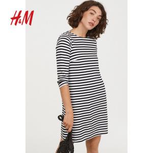 H&M女装裙子短裙女休闲纯棉直筒长袖连衣短裙HM0649495 90元