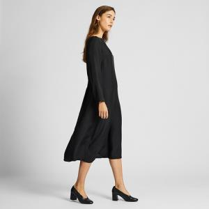 女装真丝混纺长连衣裙(长袖)422123优衣库UNIQLO 499元