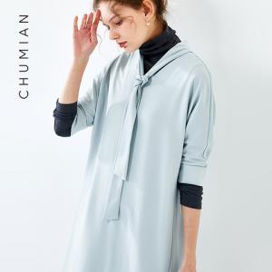 初棉新款领带连衣裙宽松茧型中裙V领连肩中袖礼服裙 59元