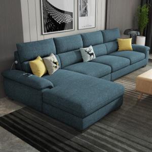 布艺沙发可拆洗乳胶沙发全实木框架3人位贵妃可充电 2880元(需用券)