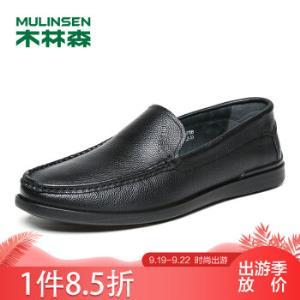 木林森(MULINSEN)商务休闲鞋舒适百搭男鞋牛皮套脚休闲皮鞋男驾车豆豆鞋黑色40码SS87108120.32元