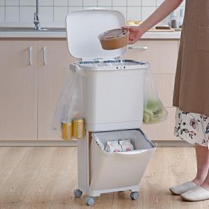 RISU日本进口双层密封分类垃圾桶厨房防宠物垃圾筒带盖垃圾收纳箱210.32元