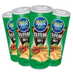 可比克烧烤味薯片零食休闲食品105g*4罐*3件 62.79元(合20.93元/件)