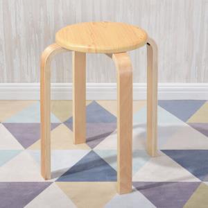 悦含曲木凳子彩色家用实木凳布艺圆凳简约现代休闲防滑餐凳椅子圆弧板面-木纹曲木凳*8件 216元(合27元/件)