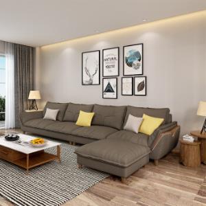 北欧布艺沙发白蜡木客厅整装现代简约四人位 3230元