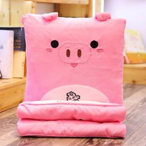 卡通抱枕被子多功能办公室汽车两用靠垫抱枕粉猪抱枕被子1*1.5m 37.5元