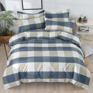 斜纹加厚磨毛四件套床单被套1954蓝色格子(1.5m床四件套)床单:210x230cm被套 69.9元