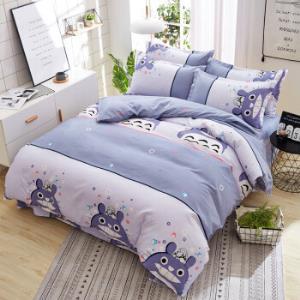 简约斜纹磨毛四件套植物羊绒棉床单被套床上用品 79元
