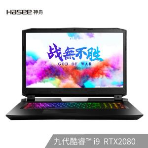 HASEE 神舟 战神 GX10-CT9 Pro 17.3英寸游戏本(i9-9900K、16G、512G+2T、RTX2080、144Hz)  20999元包邮