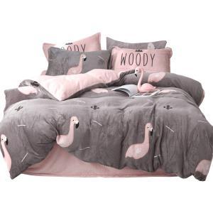 冬季珊瑚绒四件套双面绒加厚法兰绒法莱绒网红女床上用品被套床单   券后69元