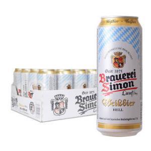 凯撒西蒙德国进口小麦白啤酒500ml*24听整箱装 *2件 186元(合93元/件)