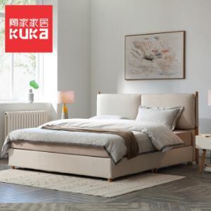 顾家家居软床现代简约北欧实木白蜡木布艺床可拆洗软靠包1.8米双人床卧室婚床米黄色PTM309B1.8*2.0m    2659.05元