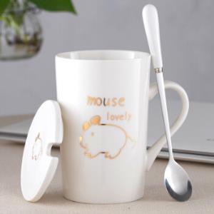 创意十二生肖可爱陶瓷杯子420ml情侣水杯卡通马克杯带盖勺 19.9元