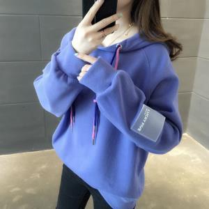 2019秋冬加绒加厚卫衣女韩版bf风宽松连帽长袖外套卫衣/绒衫9161 ¥35.9